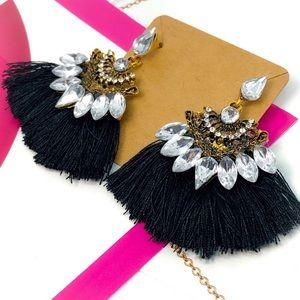 Black Tassel Fan Dangling Earrings Set